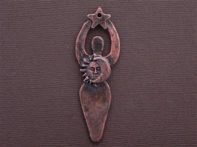Moon, Star & Sun Goddess Antique Copper Colored Fresh Lipstick Pendant
