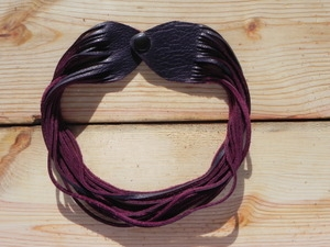 Leather Shredded Choker Plum Purple