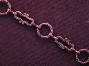 Handmade Chain Antique Copper Colored Etched Rings & Funky Rectangles