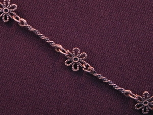 Handmade Chain Antique Copper Colored Daisies And Twisted Bars