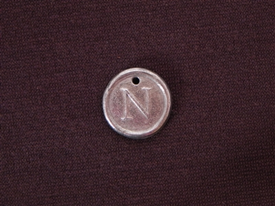 Initial N Antique Silver Colored Wax Seal