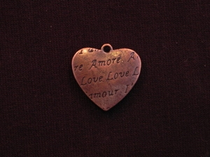Charm Antique Copper Colored Amore Heart