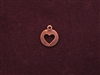 Charm Antique Copper Colored Heart Cut Out Round Tag