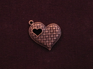 Charm Antique Copper Colored Heart With Heart Cut Out