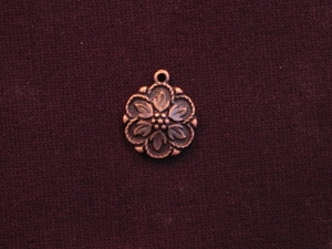 Charm Antique Copper Colored Contemporary Flower