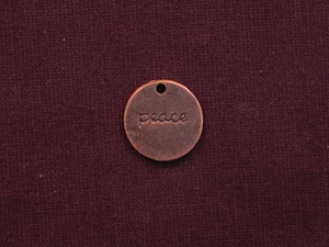 Charm Antique Copper Colored Round Tag With Peace Word