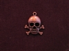 Charm Antique Copper Colored Skull With Cross Bones