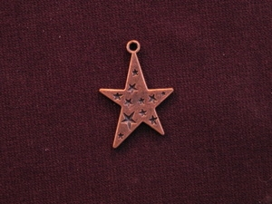 Charm Antique Copper Colored Funky Star