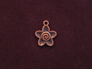 Charm Antique Copper Colored Flower With Swirl Center