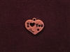 Charm Antique Copper Colored I Love You Heart