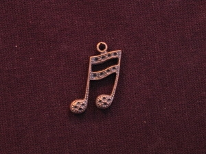 Charm Antique Copper Colored Eighth Notes