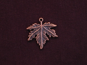 Charm Antique Copper Colored Maple Leaf