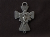 Vintage Replica Sacred Heart Front & Virgin Mary Back Cross Antique Silver Colored Pendant