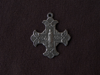 Vintage Replica Sacred Heart Of Jesus & Our Lady Scrolled Cross Antique Silver Colored Pendant