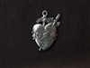 Vintage Replica Immaculate Heart Antique Silver Colored Pendant