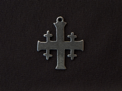 Vintage Replica Jersusalem Cross Antique Silver Colored Pendant