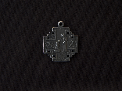 Vintage Replica Saint Francis Medal Antique Silver Colored Pendant