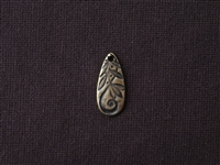 Stamped Texture Pewter Long Drop Dangle Antique Gold