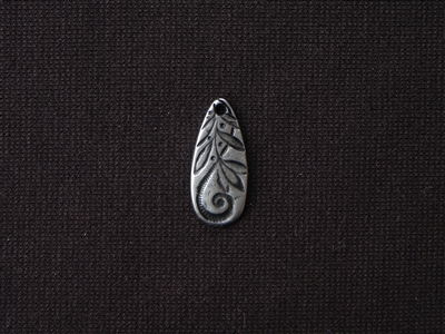 Stamped Texture Pewter Long Drop Dangle Antique Silver