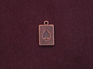 Charm Antique Copper Colored Ace Card