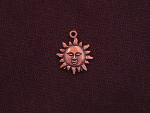 Charm Antique Copper Colored Sun With Face