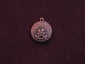 Charm Antique Copper Colored Three Flower Medallion