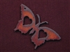 Rusted Iron Butterfly With Double Hearts Pendant