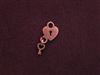 Charm Antique Copper Colored Heart Lock With Key