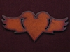 Rusted Iron Heart With Wings Pendant