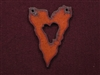Rusted Iron Jagged Edge Heart Pendant