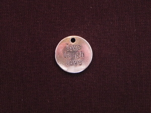 Charm Silver Colored Live Laugh Love Tag