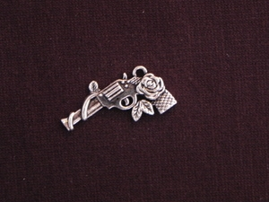 Charm Silver Colored Gun With Roses