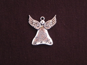 Charm Silver Colored Angel With Heart