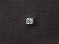 Large Hole Square Metal Bead Silver Colored