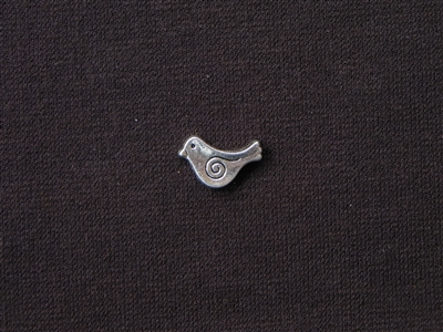 Metal Chubby Bird Bead Silver Colored