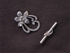 Toggle Clasp Silver Colored 5 Petal Flowers