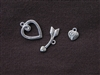 Toggle Clasp Three Piece Heart & Broken Arrow With Side Charm Silver Colored