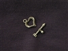 Toggle Clasp Heart & Arrow Antique Bronze Colored