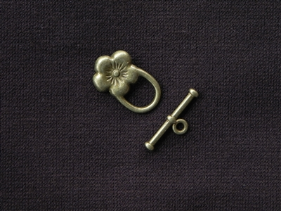 Toggle Clasp Hawaiian Flower Antique Bronze Colored