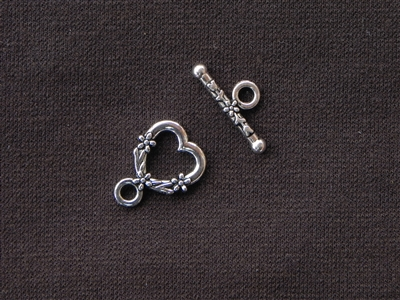 Toggle Clasp Heart With Flowers Silver Colored