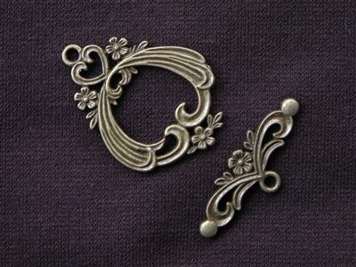 Toggle Clasp Victorian Style Antique Bronze Colored