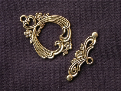 Toggle Clasp Victorian Style Gold Colored