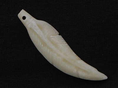 Hand Carved Large Bone Feather Cream