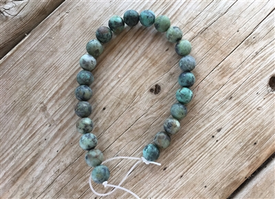 8 Inch 8 mm Round Matte Finish African Turquoise Strand