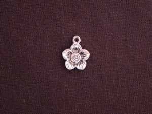 Charm Silver Colored Small Flower With Swirl Center