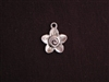Charm Silver Colored Large Flower With Swirl Center