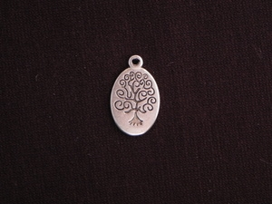 Charm Silver Colored Oval With Tree Of Life