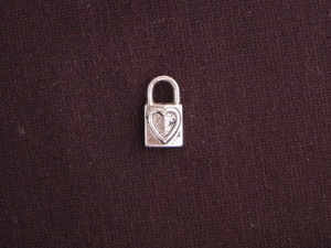 Charm Silver Colored Lock With Heart