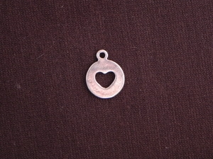 Charm Silver Colored Round Tag With Heart Cut Out