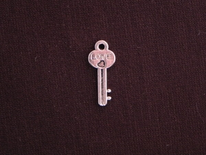Charm Silver Colored Key With Love
